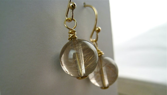 Rutilated smoky quartz gold filled earrings. Gold rutile crystals, contemporary jewelry, gold dangle earrings