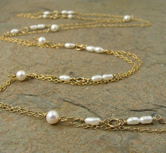 Pearl necklace, 14kt gold filled necklace. Fresh water pearl, gold filled chain. Modern jewelry, extra long necklace