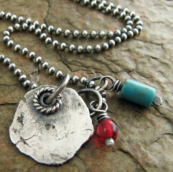 Sterling Silver & Turquoise Necklace, Vintage Red Glass Bead. Southwestern Fashion Turquoise Jewelry Etsy Canada