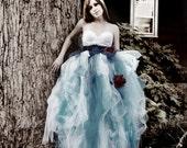 Alice in Wonderland Tutu- Floor Length Pale Blue Powder Blue Red White