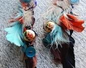CUSTOM handmade Feather Earrings with Charms