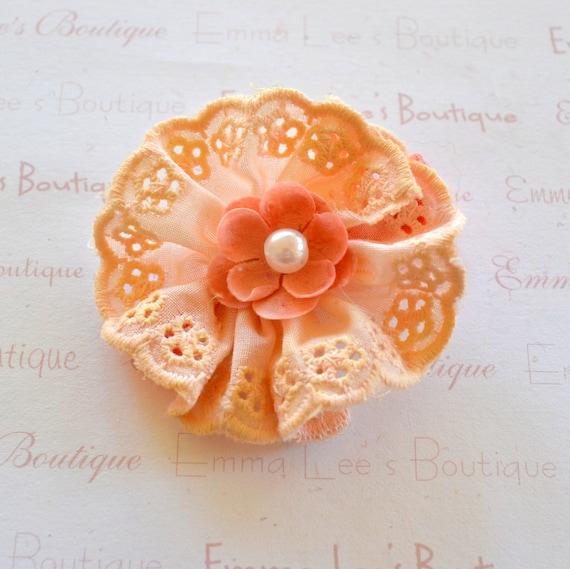 Peach Fabric Flower Clip