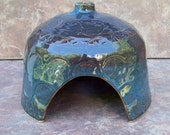 Hand Made Pottery  Toad House in Garden Earth Blue