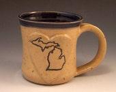 Handmade Stoneware Love Michigan Pottery Mug