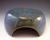 Hand Made Pottery Toad House in Earth Blue