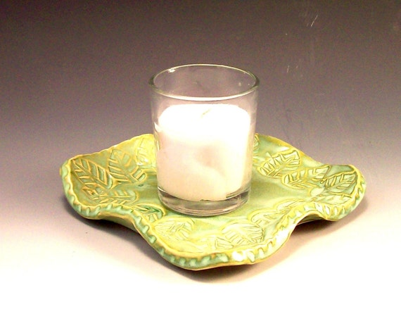 Leaf Design Candle Holder/ Tray in French Country Green