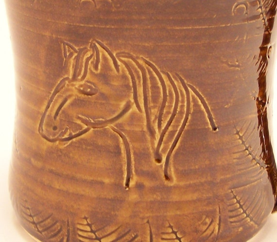 Horse Mug in Amber Brown/ Hand Made Pottery/Western Style