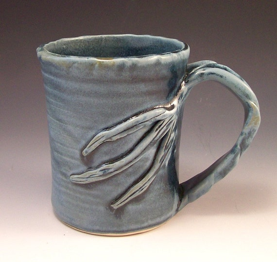 Big Ole Tree Branch Style Pottery Mug in Slate Blue for Tea, Coffee or any Beverage