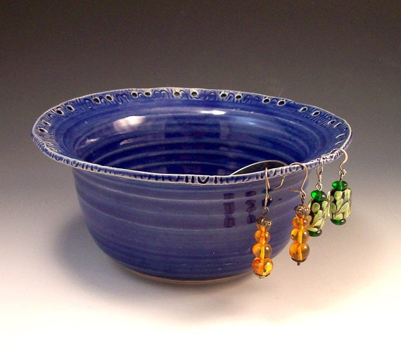 Handmade Pottery  Earring and Jewelry Holder in Royal Blue