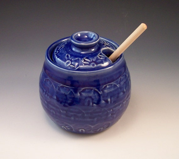 Hand Made Pottery Honey Pot in Royal Blue