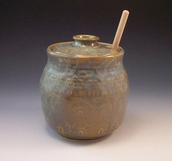 Hand Made Pottery Honey Pot Carribean Sea Green