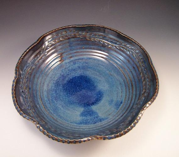 Large Leaf Design Pottery Serving Bowl in Beautiful Blue