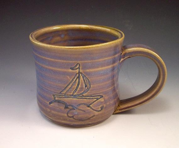 Handmade Pottery Sailboat/Nautical  Mug