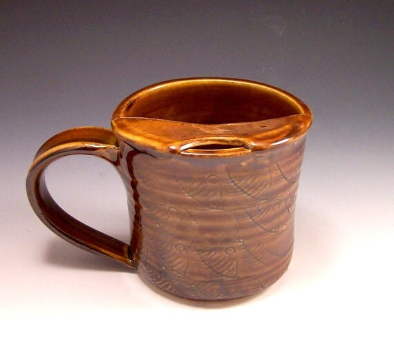 LEFT HANDED-Handmade Pottery Mustache Mug in Rich Amber Brown
