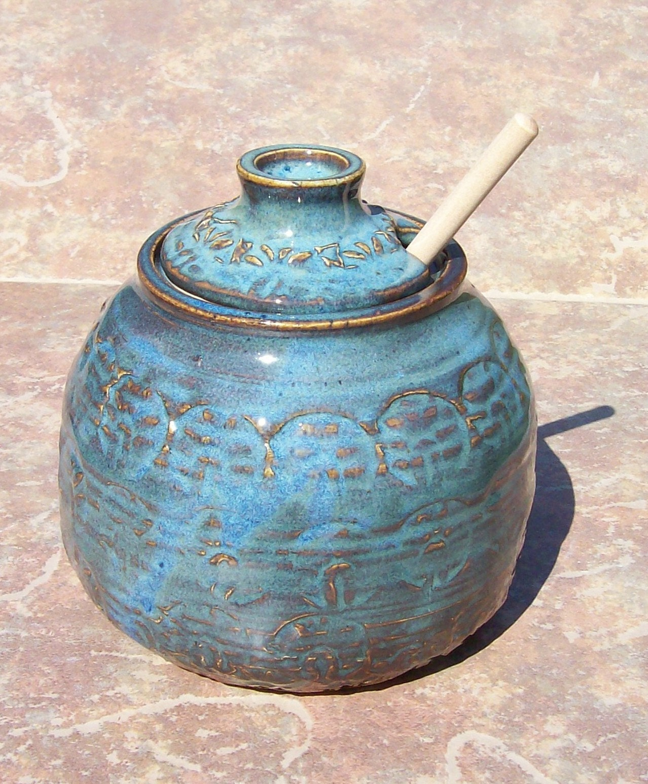 Hand Made Pottery Honey Pot In Garden Earth Blue