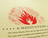 A Meditation - Limited edition Letterpress Printed Zoroastrian Poem
