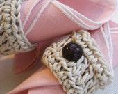 4 Napkin Cuff Set (Natural Cotton String with Vintage Cordovan)