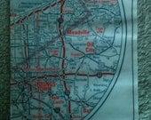 Passport Holder- Vintage Map of Ohio, Pennsylvania