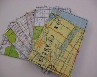 Slim Wallet- Vintage San Francisco Map - choose 1