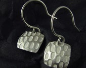 Small Square Silver Pixel Earrings