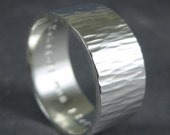 Wide hammered silver ring - Hammered Ripples custom inscription ring