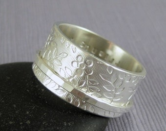 Spinning ring  with custom engraving, Floral spinner ring, custom spinner ring, sterling silver spinner ring,  flower spinner, anxiety ring
