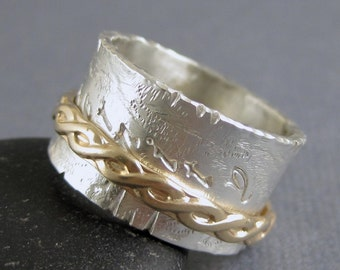 Eternity Spinner ring in silver and solid 14k gold - Size 7 ready to ship, meditation spinner ring, anxiety ring, gold and silver spinner