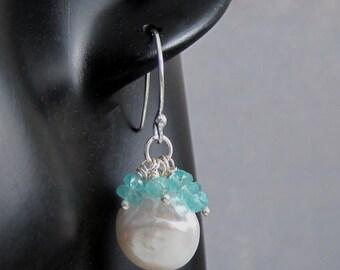 Pearl cluster earrings, apatite earrings, sea foam earrings, white coin pearl earrings,  cluster earrings, pearl and blue gemstone