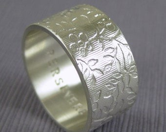 Custom inscription ring, flower pattern ring, word ring, 10mm,  Wide silver band, Secret message ring, Personalized ring, Engraved  ring