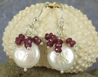 Coin pearl earrings - Gemstone cluster earrings - Rhodolite gemstones - White freshwater coin pearl - handmade in sterling silver