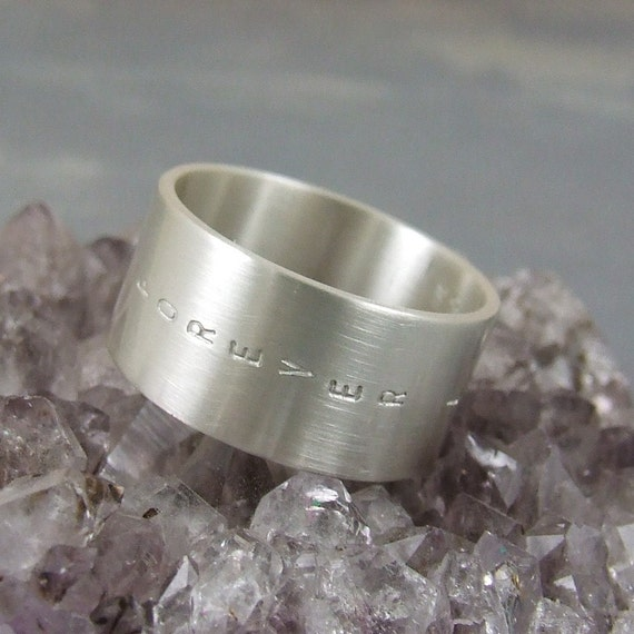 Your custom inscription - Brushed Satin silver ring