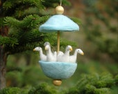 RESERVED for COCORIOS - Six Geese a Laying - Needle Felted Twelve Days of Christmas Ornament