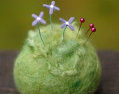 Little Periwinkle Flowers - Small Felted Pincushion