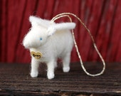 Custom Name - Memorial Lamb Angel - Made to Order - Needle Felted Ornament