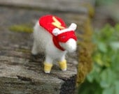 Made to Order - Super Hero Lamb Red Lightning- Needle Felted Sheep to the Rescue