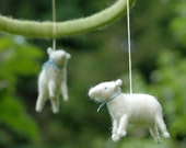Made to Order - Mini Sheep Mobile with Blue Bows - Needle Felted Nursery Decor