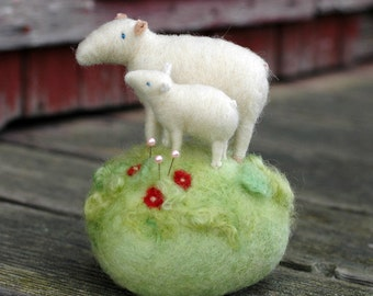 Mama Sheep and her Lamb in a Meadow - Made to Order - Needle Felted Pincushion