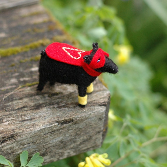 Super Hero Noir Valentine Lamb - Needle Felted Love to the Rescue