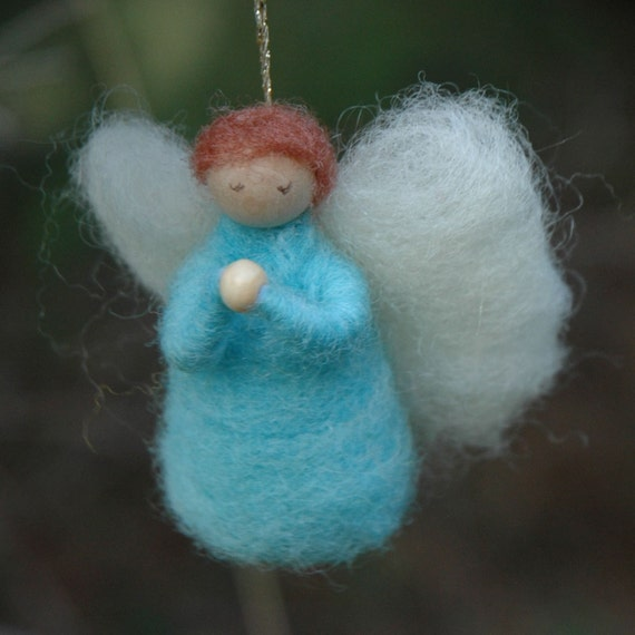 Needle Felted Mini Angel Christmas Ornament
