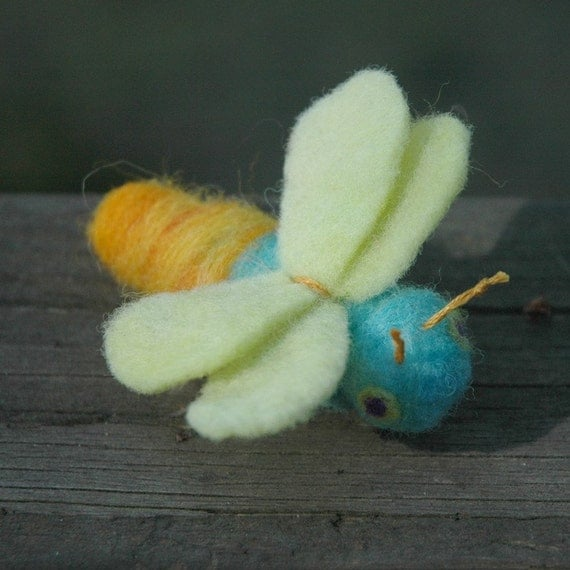 Lightning Bug Blue Needle Felted Firefly