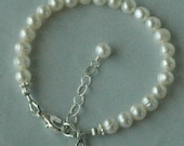 Sterling Silver Initial Freshwater Pearl Initial Bracelet, Flower Girl Bracelet, Freshwater Pearl Bracelet, Baptism Bracelet, initial