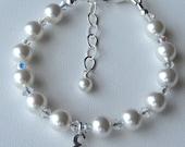 Simple Swarovski Crystal Pearl Initial  Children  Bracelet