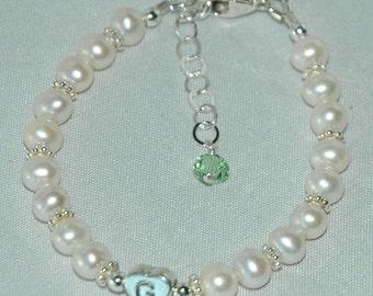 Sterling Silver Initial Heart  Freshwater Pearl Children Bracelet, Birthstone Bracelet, Baptism Bracelet, Baby Pearl Bracelet