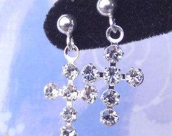 Swarovski Crystal Cross and Sterling Silver  Earrings, First Communion, Flower Girls, Confirmation, Gold Filled Swarovski Crystal Earrings