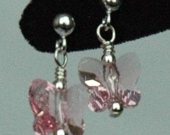 Light Pink Butterfly Earrings, Butterfly Post Stud Children Earrings, Flower Girl Earrings, Butterfly Earrings, Tiny Earrings
