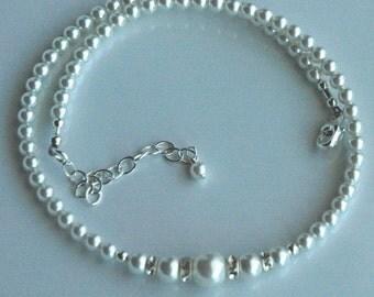 Flower Girl Necklace --- Swarovski Crystal Pearl and Rondelle Necklace, Flower Girl Set Gift
