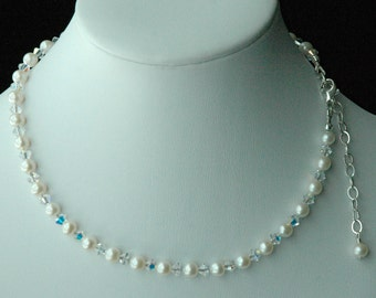 Sterling Silver Freshwater Pearl and Swarovski Crystal Children Necklace, Flower Girl, Confirmation, First Communion, Junior Bridesmaids