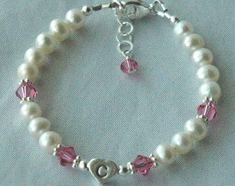 Sterling Silver Initial Heart  Freshwater Pearl with Swarovski Crystal Children Bracelet