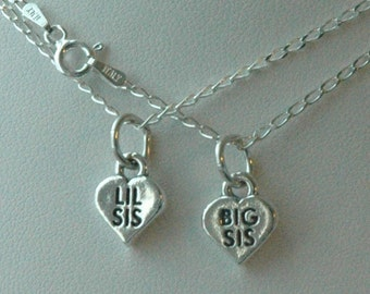 Sterling Silver Big  Sister /  Lil Sister Child Girl Necklaces - Set of Two
