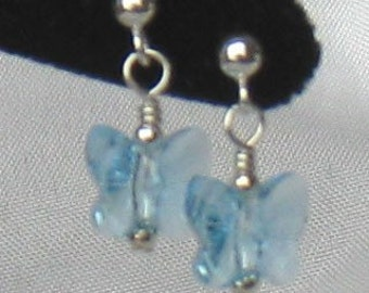 Aquamarine Butterfly Earrings, Butterfly Earrings,  Crystal Butterfly Earrings, Blue Earrings, March Birthstone Earrings
